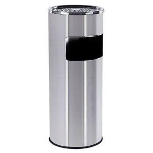 Cubo-de-basura-de-acero-inoxidable-Cenicero-Alto-Papelera-Plata-Negro-Acero-30L