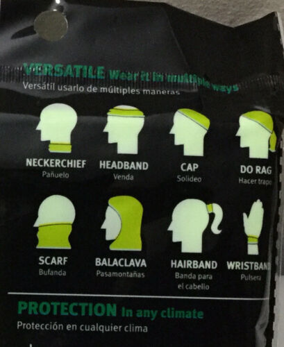 New Safety Works Clima-Band Versatile Neon Face Mask Do Rag Scarf Wristband Cap
