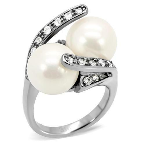 Vintage-Retro Inspired Double Pearl /& Accents Stainless Steel Ring Size 5-10