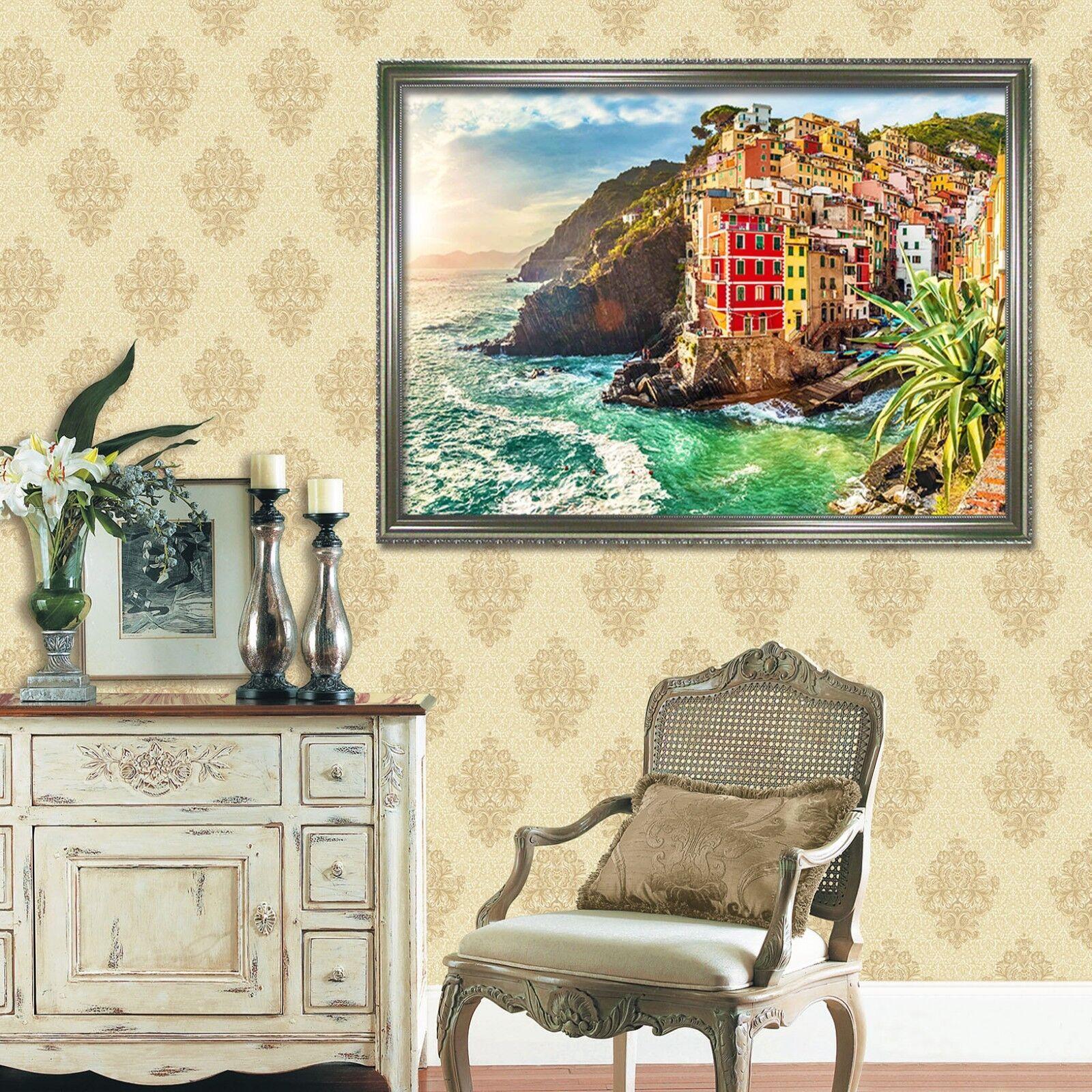 Casa de Color de 3D 63 Póster Enmarcado Decoración del Hogar Pintura de Impresión Arte AJ Wallpaper
