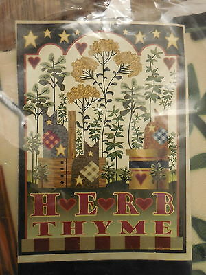"""herb Thyme"" Gardening, Cats, Primative Style, Baskets, Stars House Flag"