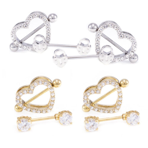 Heart Nipple Ring And Shields Set 14G Surgical Steel With Jewels