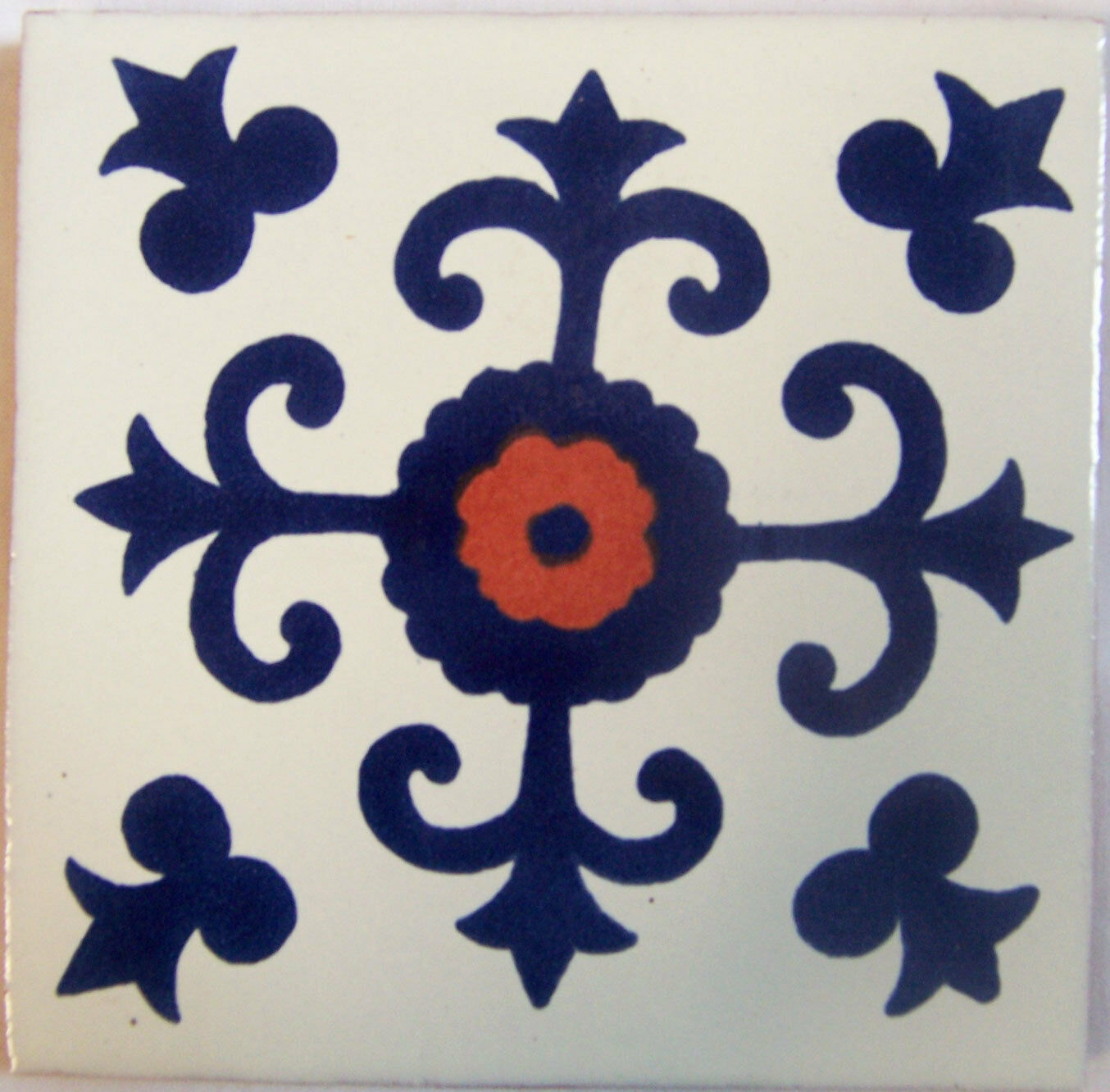 C286- Mexican Handmade Talavera Clay Tile Folk Art 4x4