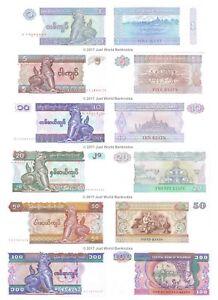 Burma-Myanmar-1-5-10-20-50-100-Kyats-Set-of-6-Banknotes-6-PCS-UNC