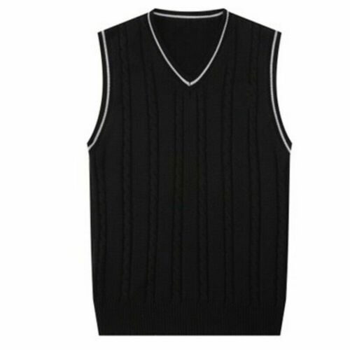 Men/'s Knitted Vest Sleeveless Sweater Pullover Knitwear Gilet Formal Casual