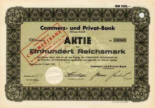 Commerz- und Privat - Bank Hamburg histor. Aktie 1932 Commerzbank Frankfurt