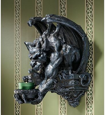Ancient Gothic Menacing Winged Gargoyle Wall Perch Candle Holder Wall Sconce Ebay