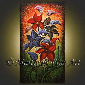 Details About Original Oil Painting Abstract Modern Paintings Red Contemporary Art Gallery