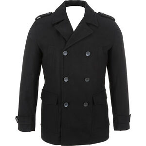Mens-Black-Rivet-Double-Breasted-Wool-Peacoat-zCL