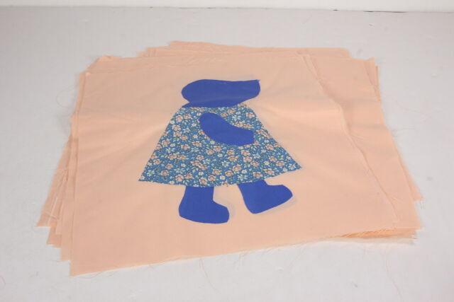 Sunbonnet Sue Vtg Quilt Quilting Blocks Squares Set Of 20 Peach Blue Applique