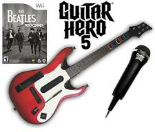 NEW Nintendo Wii Guitar Hero 5 Guitar, Beatles Rock Band & Microphone Bundle