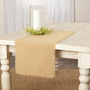 BURLAP-Natural-Table-Runner-36-034-Fringed-Woven-Farmhouse-Primitive-Tan-Rustic