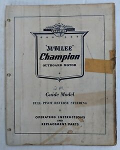 Champion Jubilee 2m Guide Model 3 5 Hp Outboard Motor Operating Parts Manual Ebay