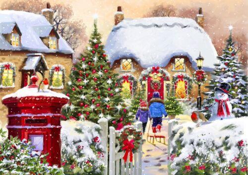 64576 Puzzle Bluebird Puzzle 1000 Teile Winter Cottage