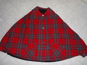 65c2a6ca07 Details about Vintage RED & GRAY TARTAN PLAID WOOL CAPE COAT Great Britain  ARCHIE BROWN & SON
