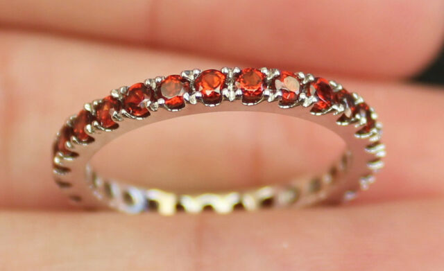 New S 6 14K Natural Garnet Eternity Wedding band Ring Guard Enhencer White Gold