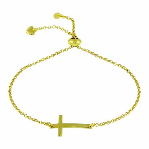 Sterling Silver Cross Charm Lariat Bracelet