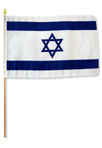 12x18 30.5cmx45.7cm Israël Bâton Drapeau Bois Personnel
