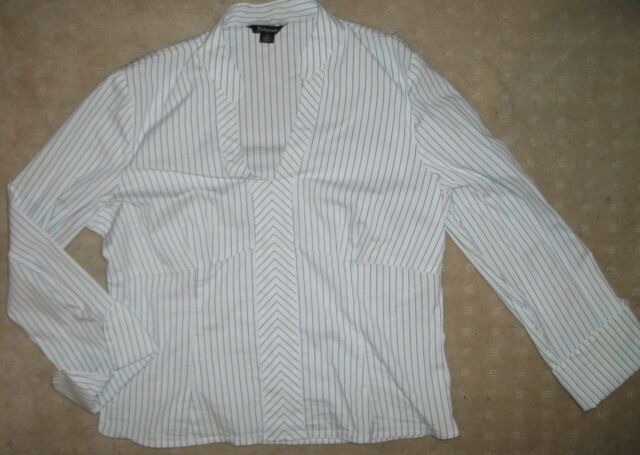 SIZE 14 LADIES WHITE n BLUE STRIPED BLOUSE.     +POST DISC.