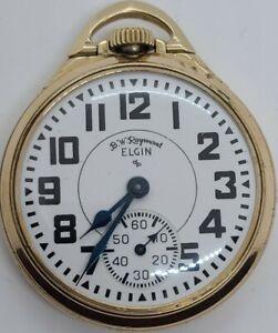 Vintage 1954 ELGIN 571 B.W. Raymond 10K G.F. 21J Railroad Grade RR Pocket Watch