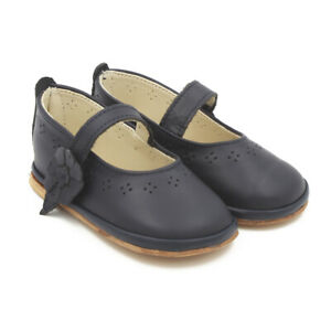 Maiorista Baby Girl Flat Shoes Navy Blue Leather Made in Portugal