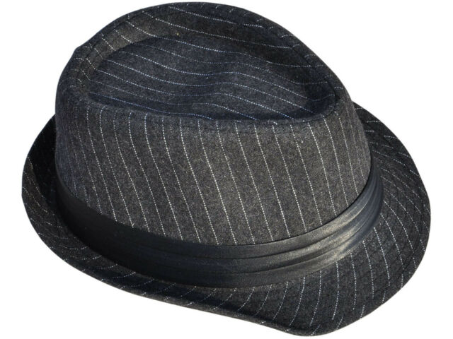 45d3fbdfe8 Frequently bought together. Charcoal Grey Short Brim Pinstripe Fedora ...