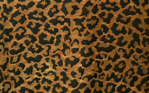 Drapery Upholstery Fabric Natural Leopard Chenille Black Gold Spots