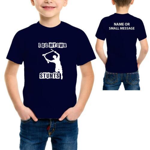 Occupo personalmente delle acrobazie Scooter Bambini Ragazzi Divertente Cool T-Shirt Stampata