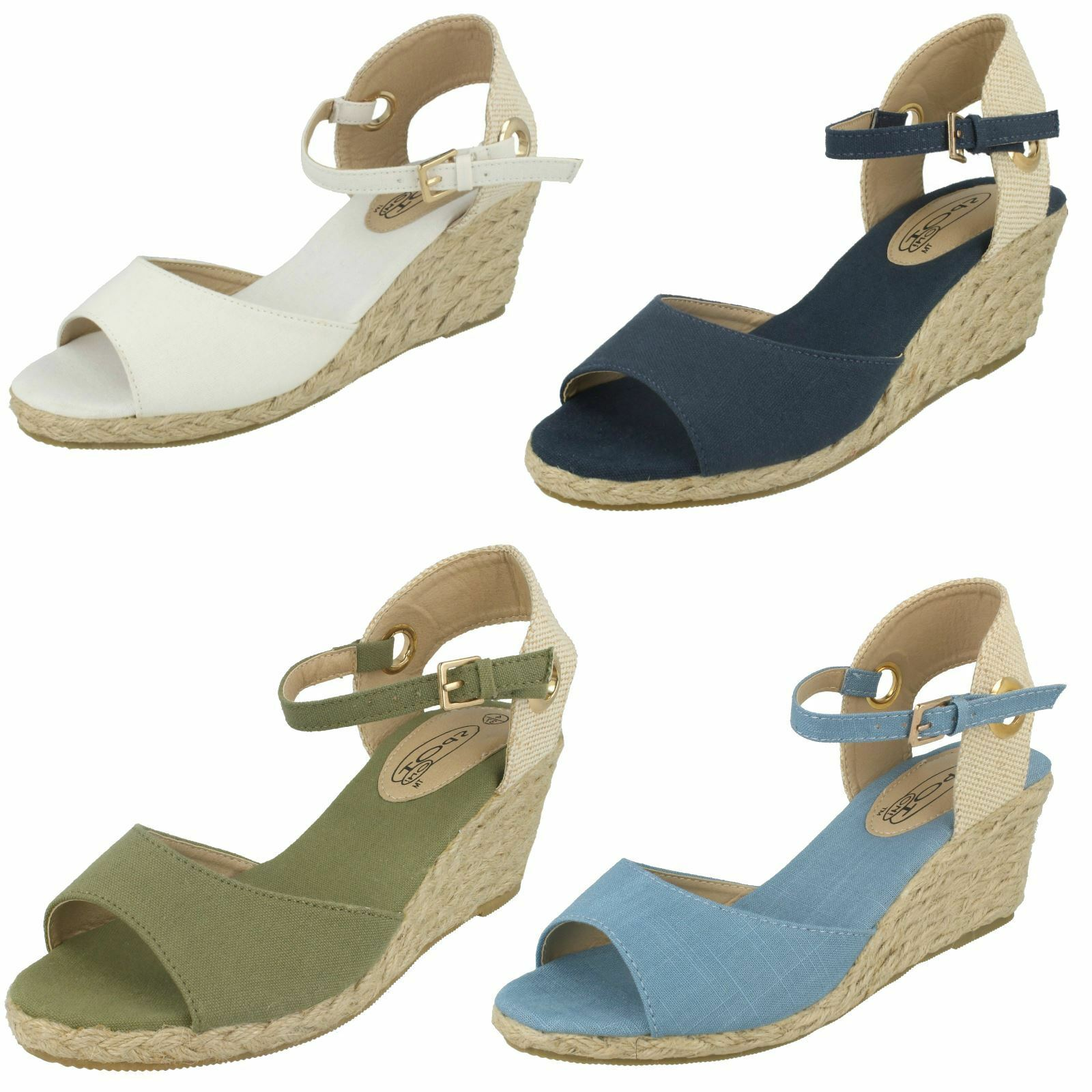 Ladies Spot 3 On Canvas Wedge Sandals UK Sizes 3 Spot - 8 F2260 84711c