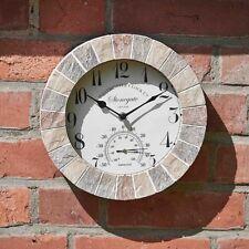 Outdoor Arenaria effetto Orologio da parete e TERMOMETRO GIARDINO DISPLAY pietra naturale
