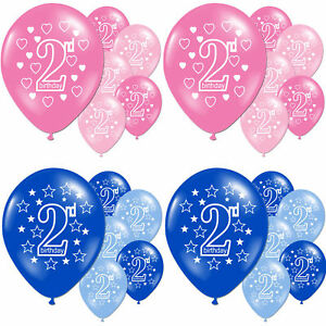 Details About Pink Girls Blue Boys 2nd Birthday Party Pearlised Latex Printed Balloons