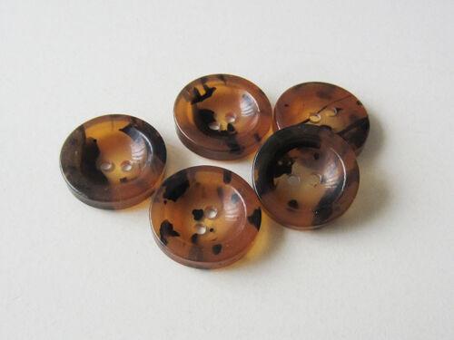 5 Grande Miel Marron noir deux trous en plastique Boutons comme écaille de tortue 2657sb-26