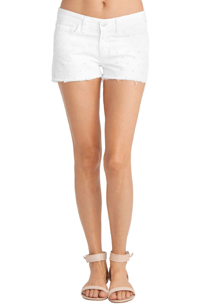 New J BRAND 1046 DOT EYELET Low Rise Cut-Off SHORT Woman SZ 24 IN WHITE