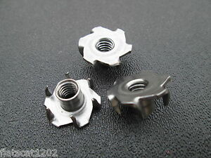 "T-Nut Tee Nuts 1//4/""-20 6-Prong  Low Carbon Steel 25"