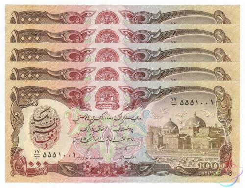 AFGHANISTAN 1000 1,000 Afghanis X 5 PCS 1991 P-61c 1//20 Bundle UNC