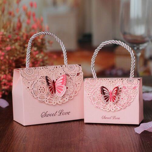 Candy Box 9*5.5cm 10pcs Hollow Flower Birthday Gift Box Wedding Candy Box