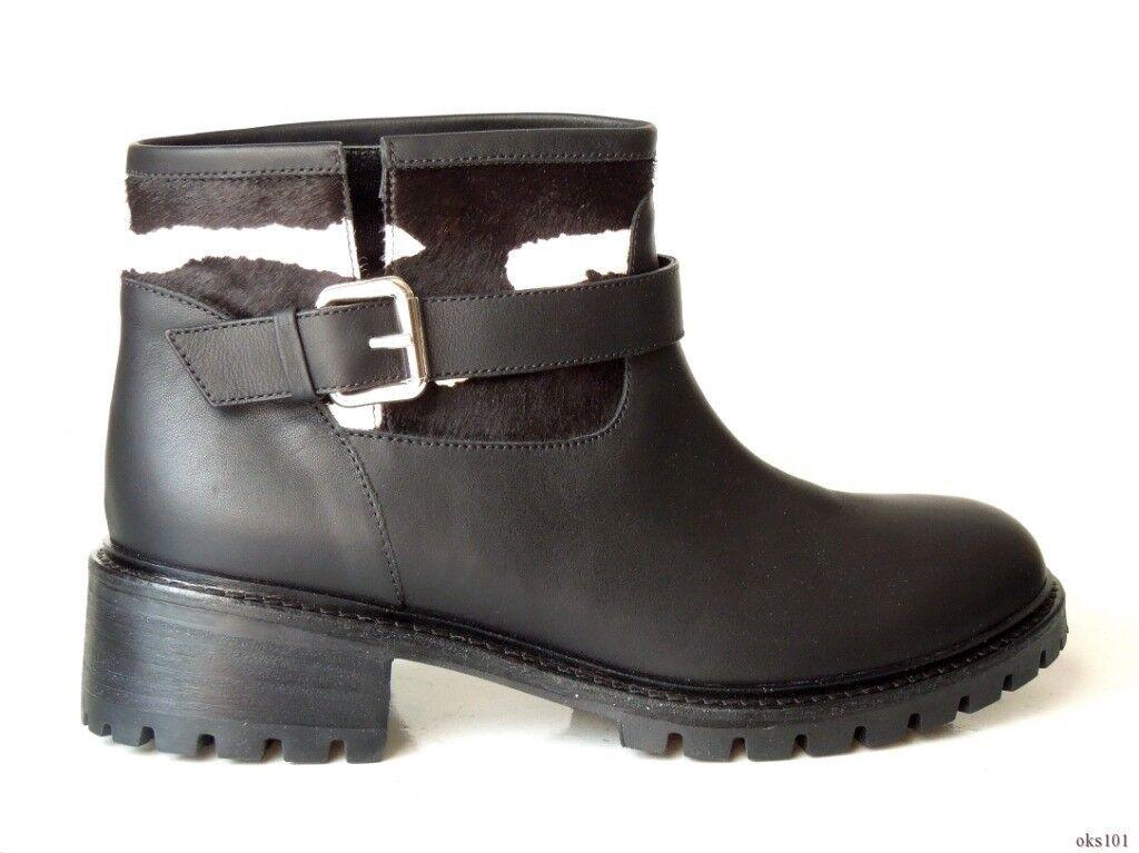 new $850 FENDI black leather zebra pony hair ANKLE BOOTS 39.5 9.5 - GORGEOUS