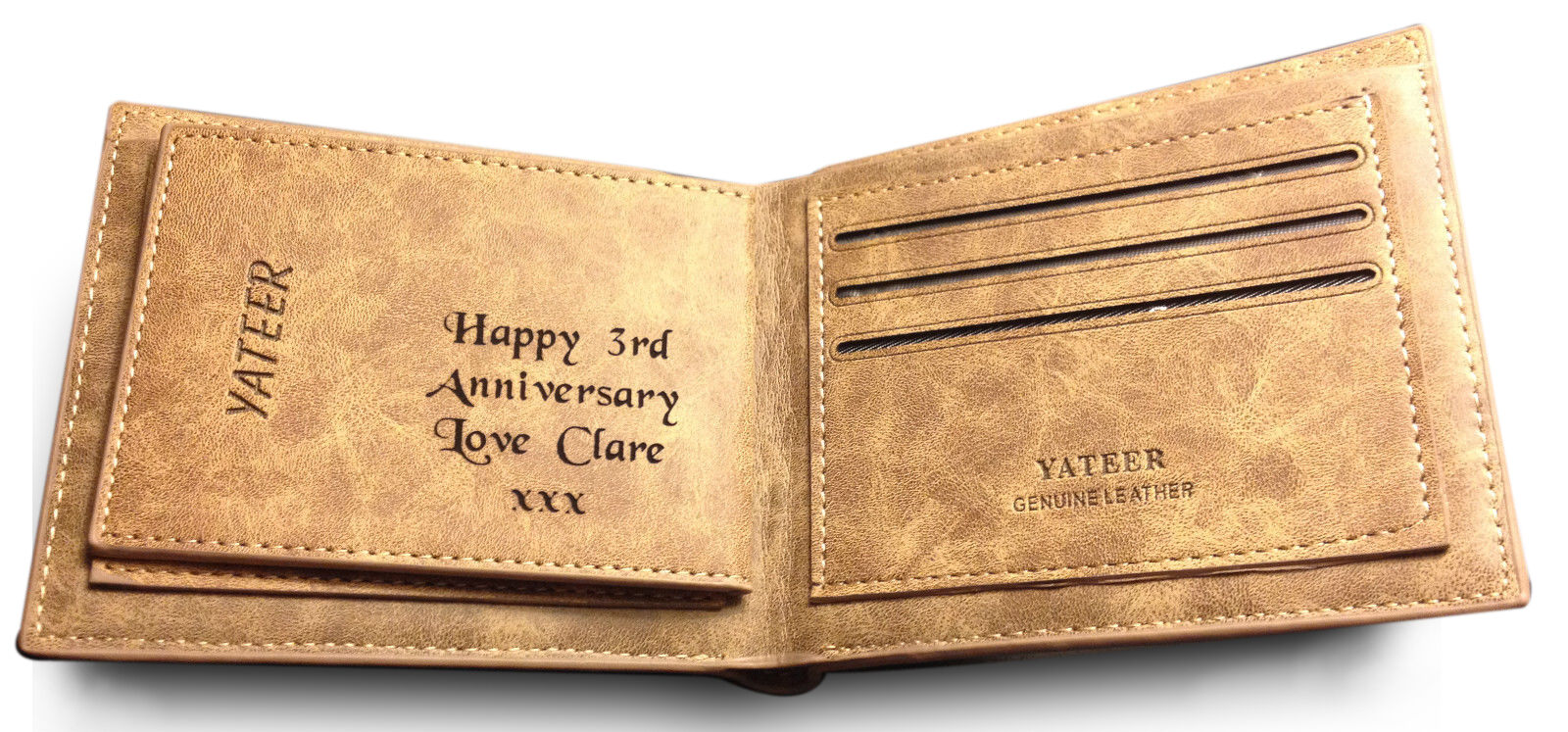 3rd Wedding Anniversary Gift For Husband: Men's Personalised Engraved Leather Wallet 3rd Wedding