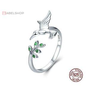 925-Sterlingsilber-Ring-Damen-Ringe-Vogel-Ranke-Blatt-Symbol-Verstellbar-Silber