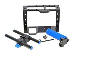 DSLR-Camera-Cage-with-15mm-rods-block-plate-Handle-Grip