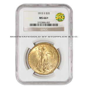1915-S $20 Saint Gaudens NGC MS66+ PQ Approved San Francisco Gold Double Eagle