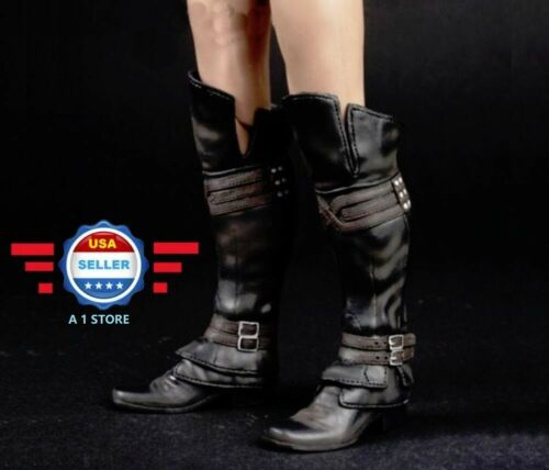 1//6 Assassin/'s Creed Leather Boots BLACK Roman Soldier Armor For Hot Toys PHICEN