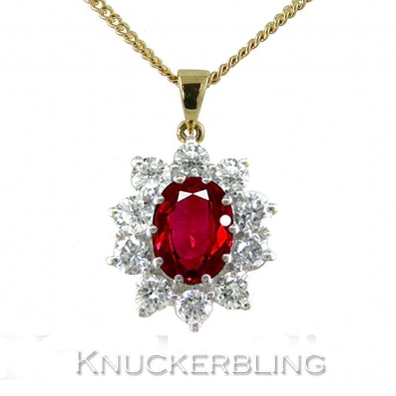 Ruby and Diamond Cluster Pendant with Chain, 1.50ct 18ct gold, F Colour Diamonds