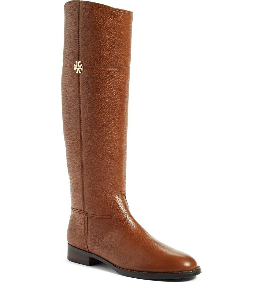 NIB Tory Burch Leather Jolie Riding Boot Boots RUSTIC BROWN 7.5 M Regular Width