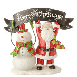 new raz imports 10 5 quot santa and snowman with merry