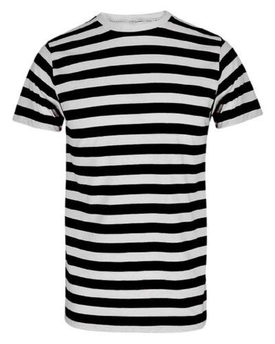 UNISEX FANCY DRESS PIRATE T SHIRT BLACK WHITE STRIPED CONVICT MEME TOP STAG HEN