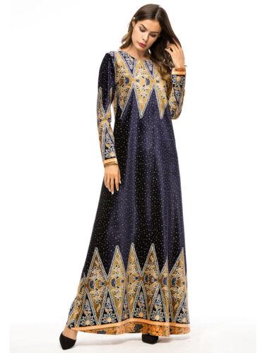 Muslim Women Abaya Jilbab Maxi Kaftan Flower LongSleeve Party Dress Robe New Lot