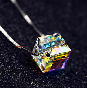 925-Sterling-Silver-Cube-Necklace-Made-With-AB-White-Swarovski-Crystal-N191