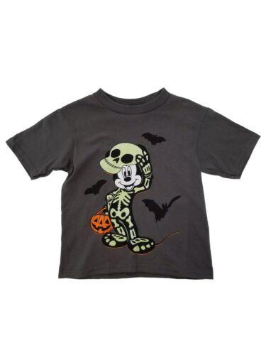Disney Mickey Mouse Toddler Boys Gray Halloween Skeleton T-Shirt