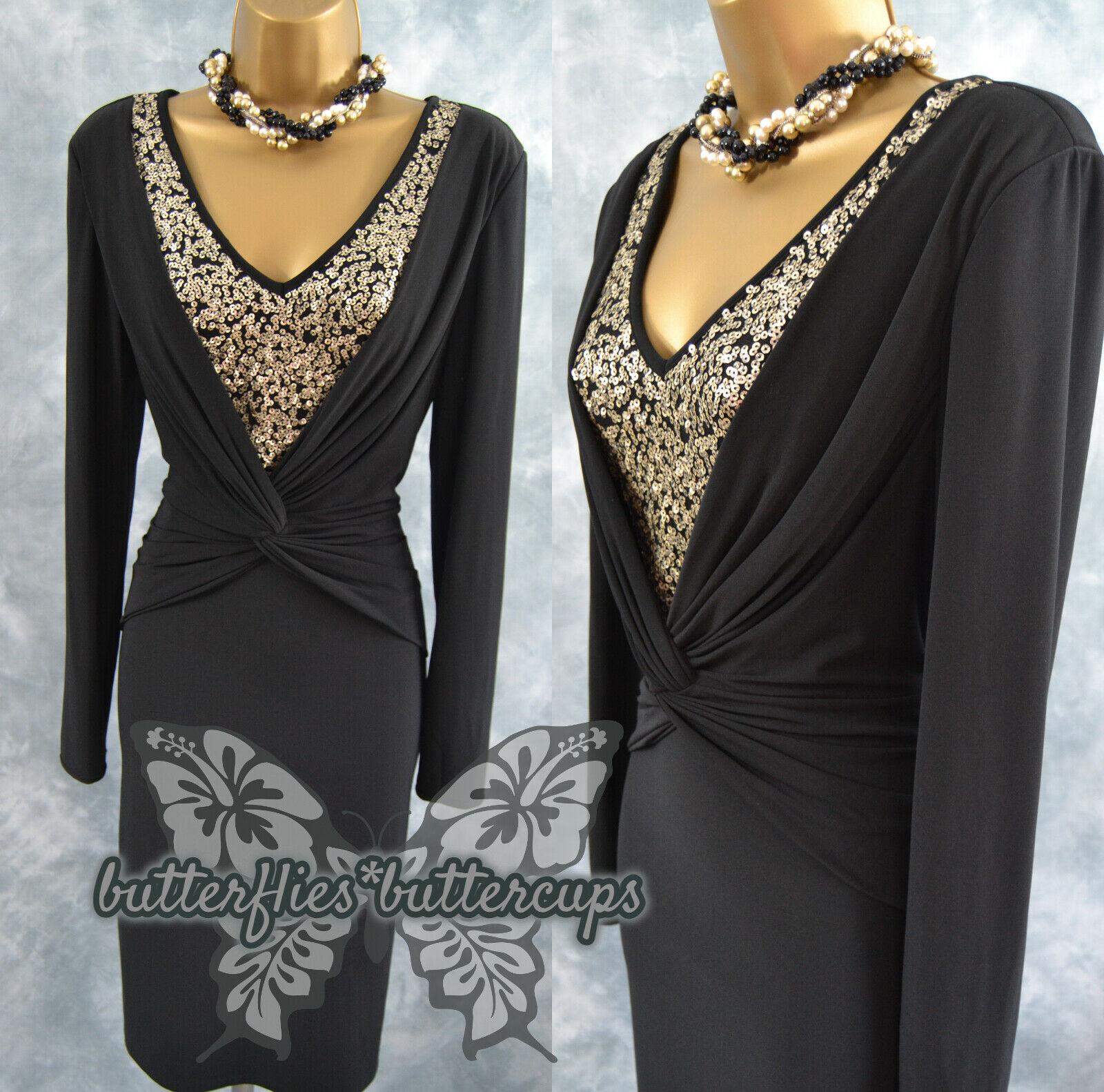 ~ GINA BACCONI ~ Size 12 Black Gold Sequin Ruched Dress Suit Mother of the Bride